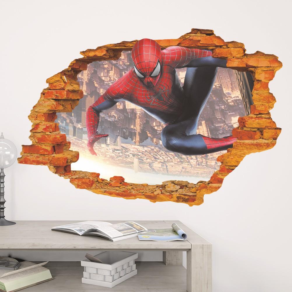 3D Super Hero Spider-man Mural Vinyl Wall Decal Sticker Kids Nursery Room Decor