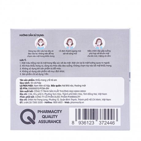 Khẩu trang y tế trẻ em 3 lớp Pharmacity (50 cái/hộp)