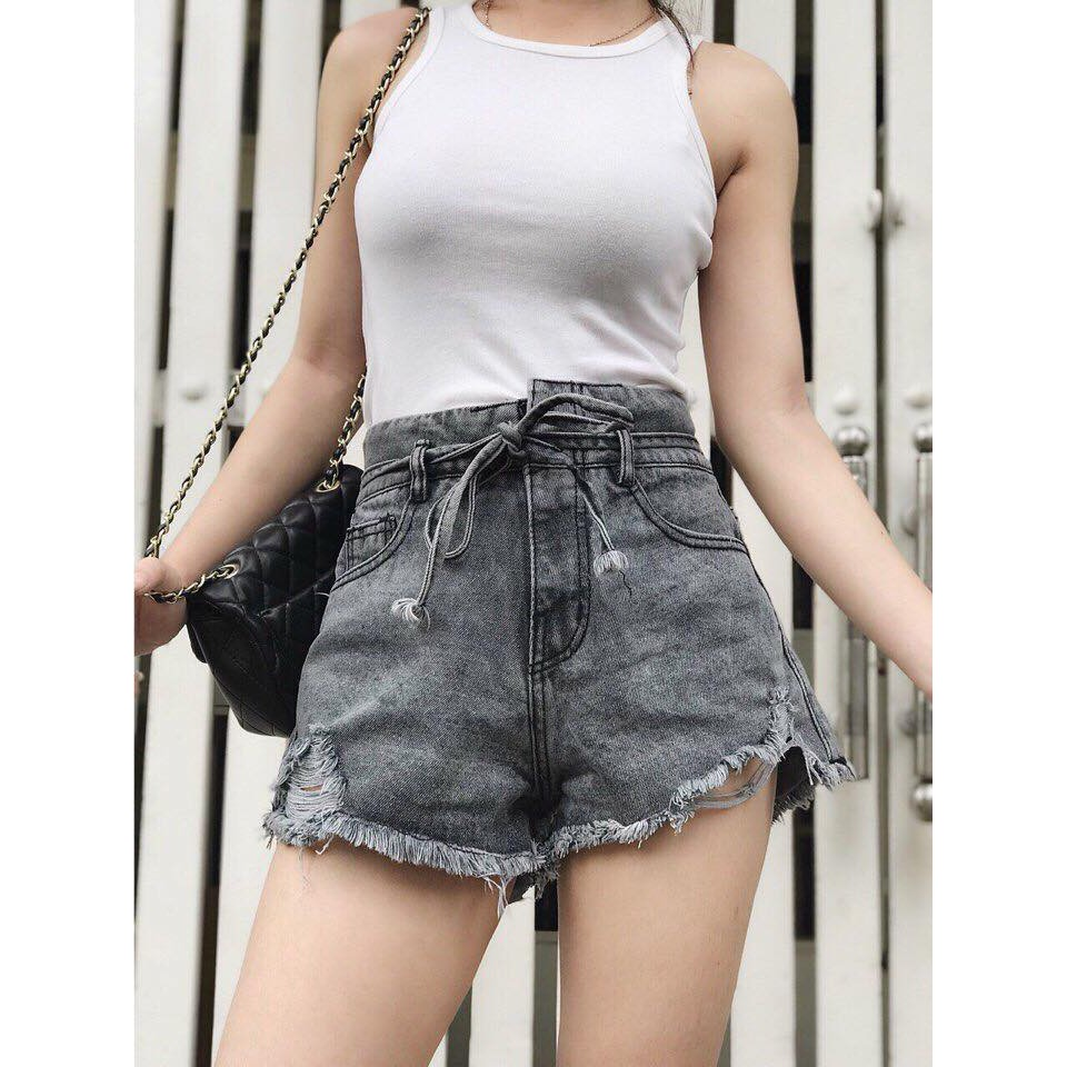 Quần short jean lưng cao buộc dây nơ - 2697246 , 1327453255 , 322_1327453255 , 120000 , Quan-short-jean-lung-cao-buoc-day-no-322_1327453255 , shopee.vn , Quần short jean lưng cao buộc dây nơ
