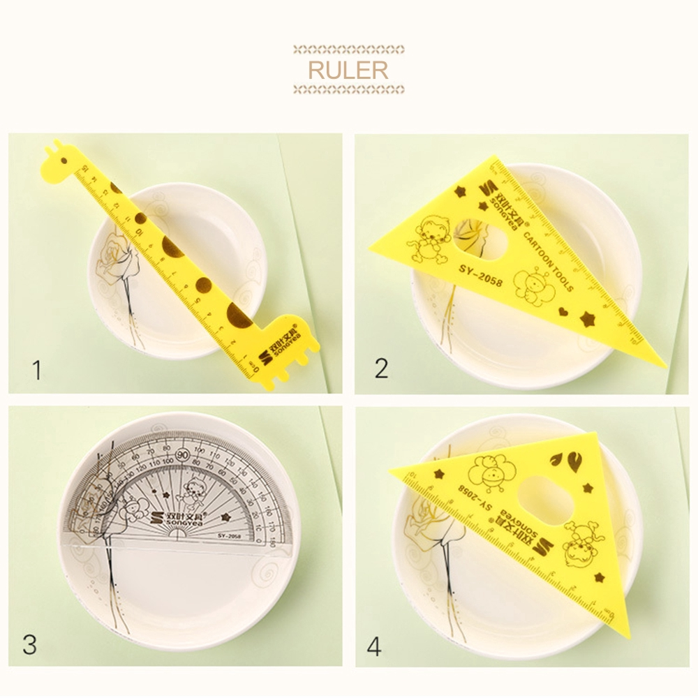 Creative Practical Children's Stationery Random Color Cute Giraffe Ruler Set vn