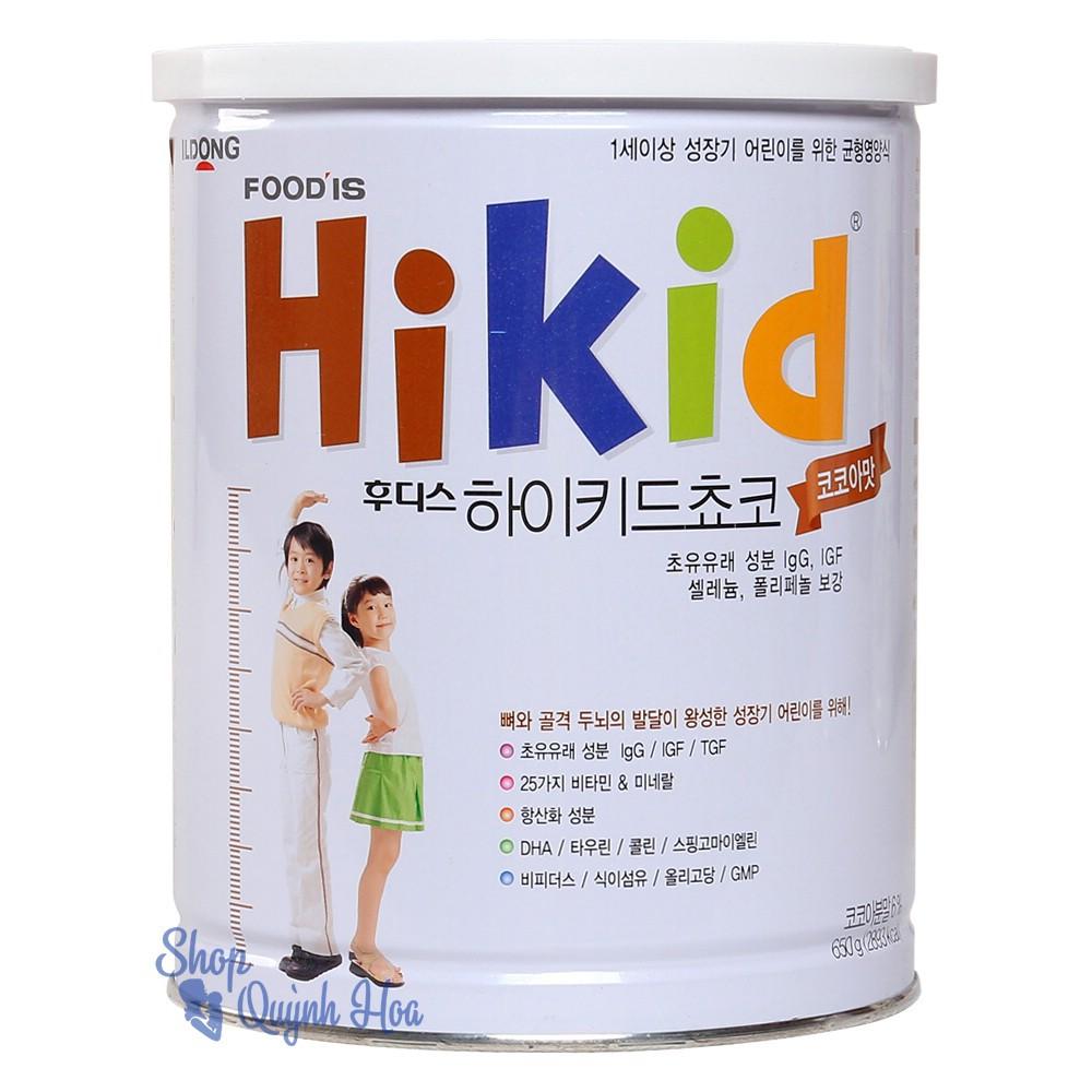 Sữa Hikid tăng chiều cao cho bé trên 1 tuổi vị socola, 600g (hàng nhập