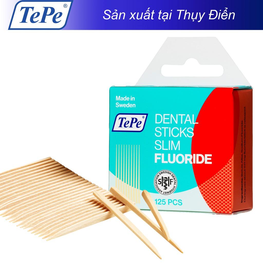 Tăm răng gỗ mảnh có fluor Tepe Wooden Slim with Fluor 125pcs