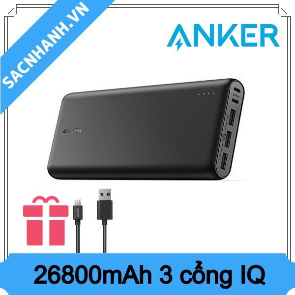 [Tặng cáp Iphone] Sạc dự phòng Anker PowerCore 26800
