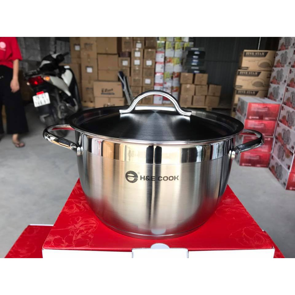 Nồi inox 3 đáy H&E cook đun bếp từ sz 20cm - 2471021 , 2321847 , 322_2321847 , 190000 , Noi-inox-3-day-HE-cook-dun-bep-tu-sz-20cm-322_2321847 , shopee.vn , Nồi inox 3 đáy H&E cook đun bếp từ sz 20cm