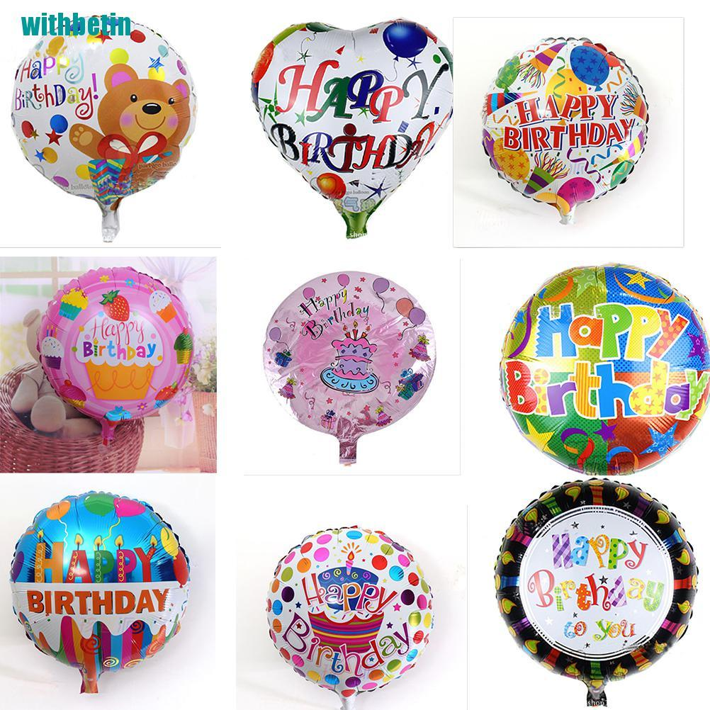 【withbetin】2Pcs Happy Birthday Aluminum Foil Balloons Birthday Wedding Party Decoration