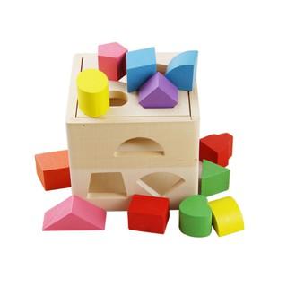 Đồ chơi gỗ-Hộp thả khối hình vuông