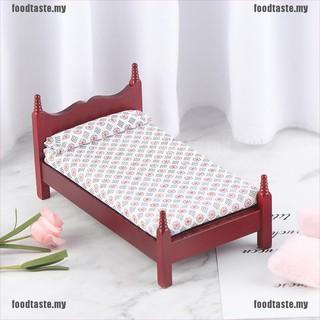 Giường Ngủ Mini Bằng Gỗ Cho Nhà Búp Bê Tỉ Lệ 1: 12