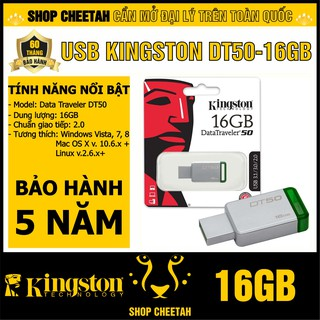 USB Kingston 16GB DataTraveler DT50 – Vỏ thép nguyên khối – Chịu va đập – Kháng nước – CHÍNH HÃNG – Bảo hành 5 năm