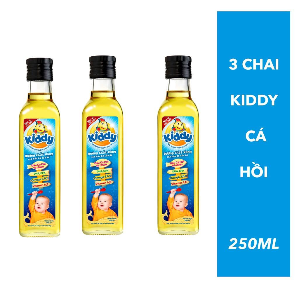 Combo 3 chai Dầu ăn cá hồi Kiddy 250ml