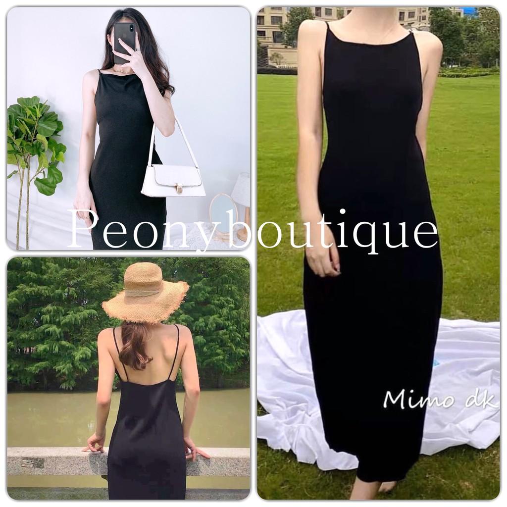 Đầm Hai Dây Hở Lưng PEONYB Nữ [FREESHIP] 🌸 Váy midi 2s body dáng ôm màu đen trơn thiết kế sexy Ulzzang HOT 🌸