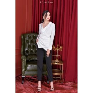 GIIAN - Áo sơ mi trắng dái tay chất liệu lụa mềm, mát phong cách công sở, cá tính - thiết kế chính hãng - A55 thumbnail