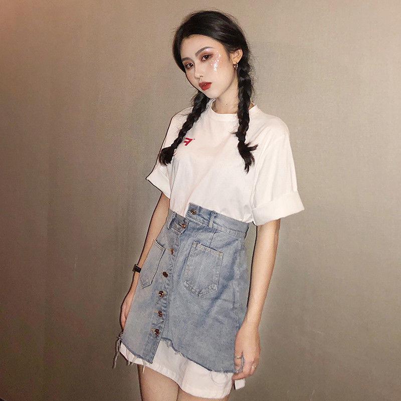 Set Áo Thun In Chữ Phối chân váy jean Lưng Cao Phong Cách Hàn Quốc Cho Nữ
