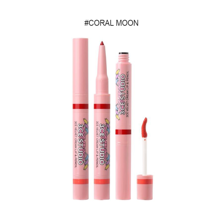 Son 2 đầu 3CE Studio Velvet Cream Lip & Pencil - 14646933 , 596290501 , 322_596290501 , 365000 , Son-2-dau-3CE-Studio-Velvet-Cream-Lip-Pencil-322_596290501 , shopee.vn , Son 2 đầu 3CE Studio Velvet Cream Lip & Pencil