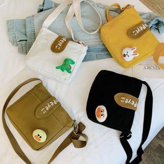 Túi vải nữ đeo vai messenger phiên bản Hàn Quốc có gấu bông đi kèm
