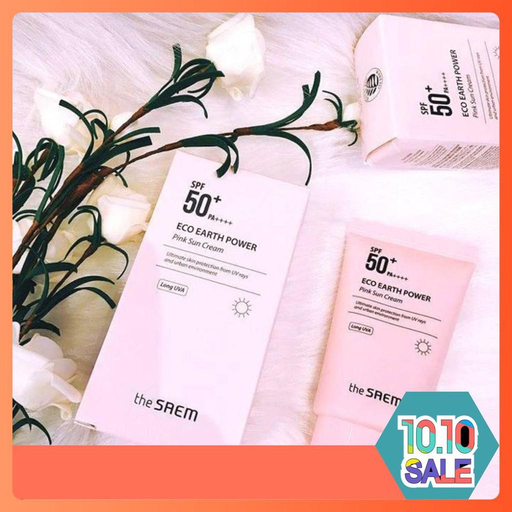 KEM CHỐNG NẮNG VẬT LÝ / THE SAEM / Eco Earth Power Pink Sun Cream SPF50+ PA++++