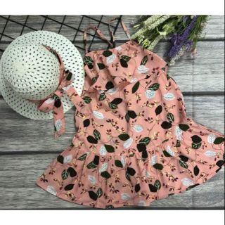 Set váy kèm nón cói bé gái siêu cute! Size cho bé từ 14kg đến 30kg. Chất voan lụa nhập mềm mịn, sờ mát tay.