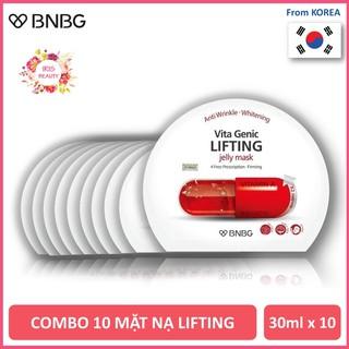 Combo 10 Mặt Nạ Giấy BNBG Lifting Nâng Cơ, Săn Chắc Da, Chống Lão Hóa BNBG Vita Genic Lifting Jelly Mask 30ml x10 (Đỏ)