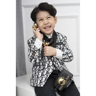Áo blazer phối đen- trắng họa tiết di.o.r