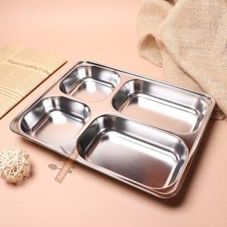 Khay inox 4 ngăn SUS - Khay đựng cơm inox chuyên dụng rất tiện lợi