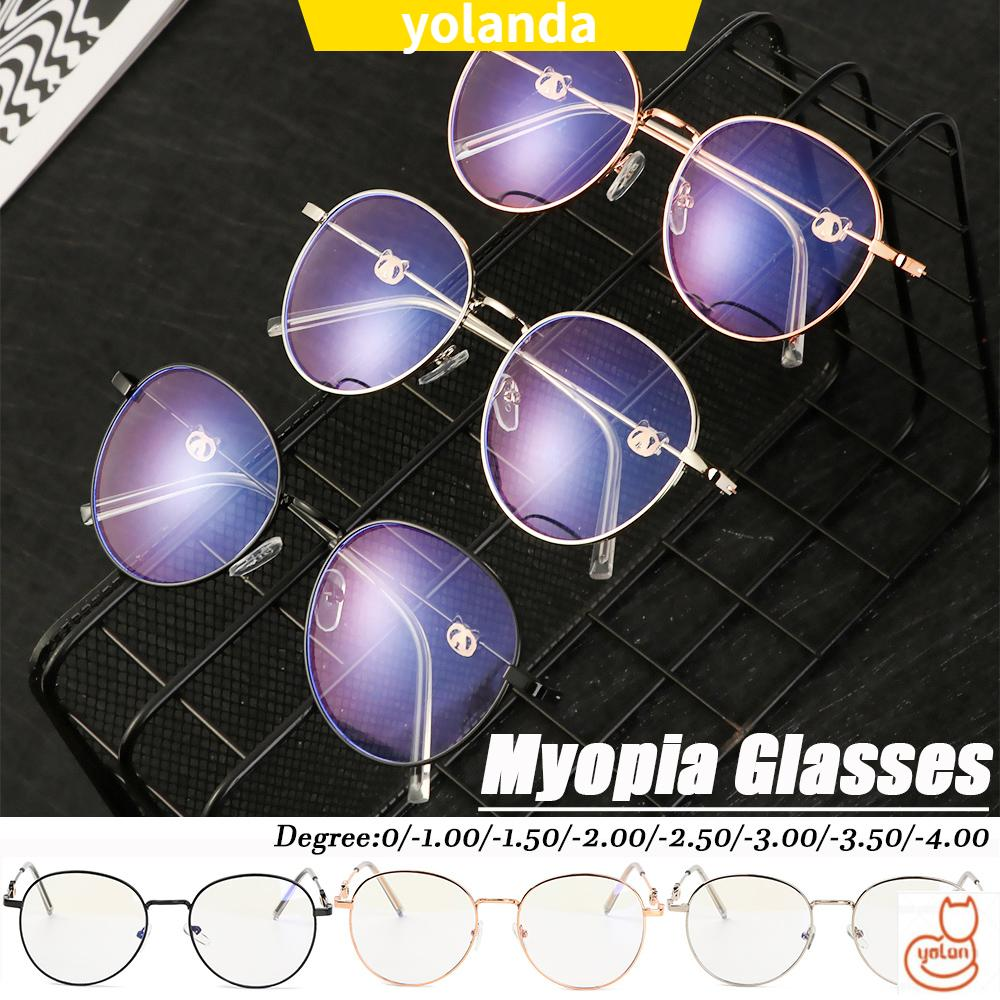 ☆YOLA☆ -1.0~-4.0 Myopia Glasses High-definition Anti-UV Blue Rays Radiation Vintage Eyeglasses Reduces Eye Strain Metal Round Frame Ultralight Unisex Flat...