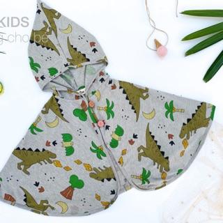 Áo choàng thiết kế cho bé – Hoạ tiết khủng long bự