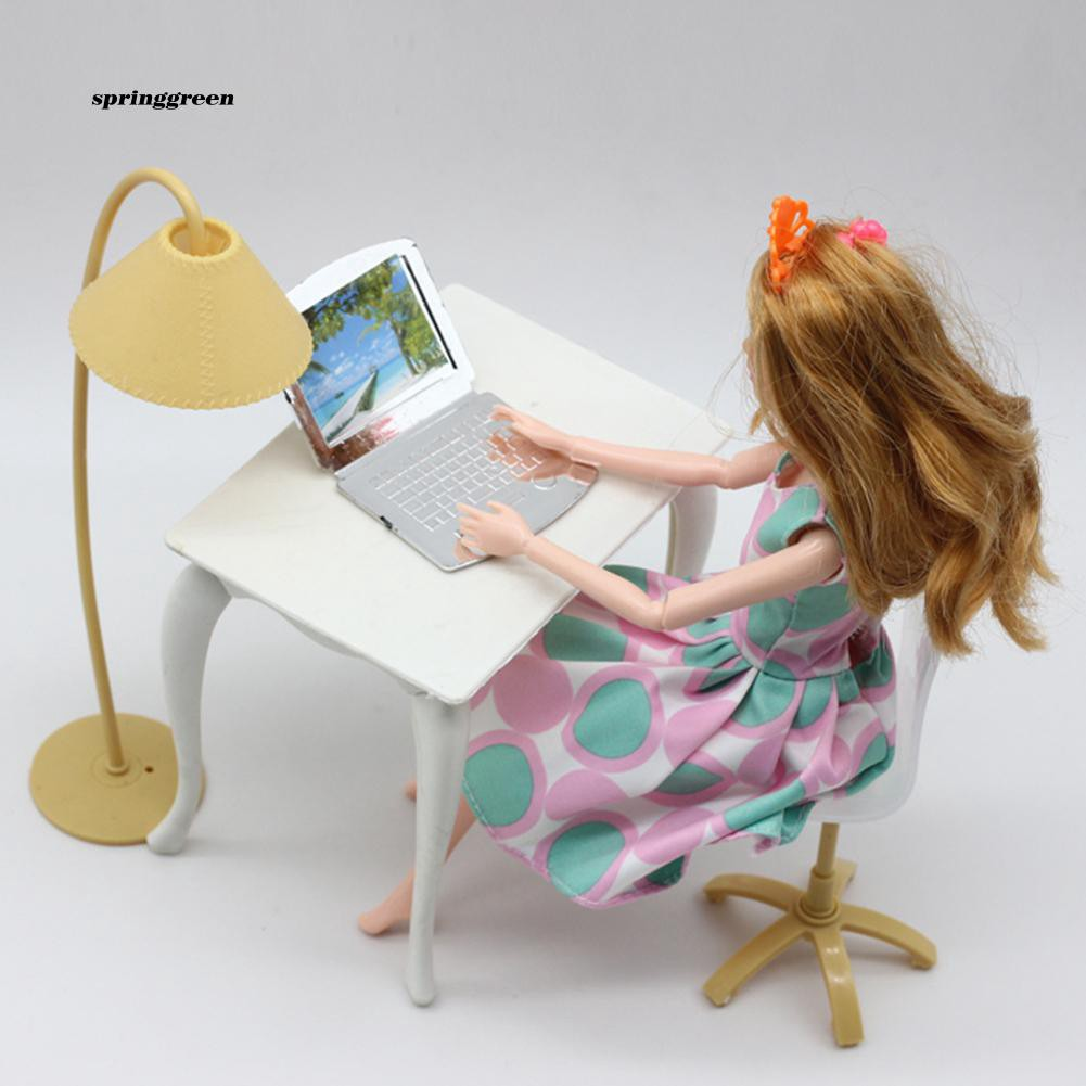 SPR♥Desk Laptop Lamp Chair Furniture Accessories for Dollhouse Decor Kids Girl Toy