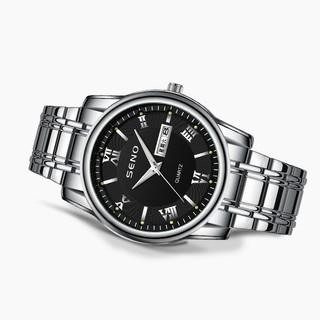 Đồng hồ nam Seno chống xước, đồng hồ chống nước dây kim loại trắng seno DH9102