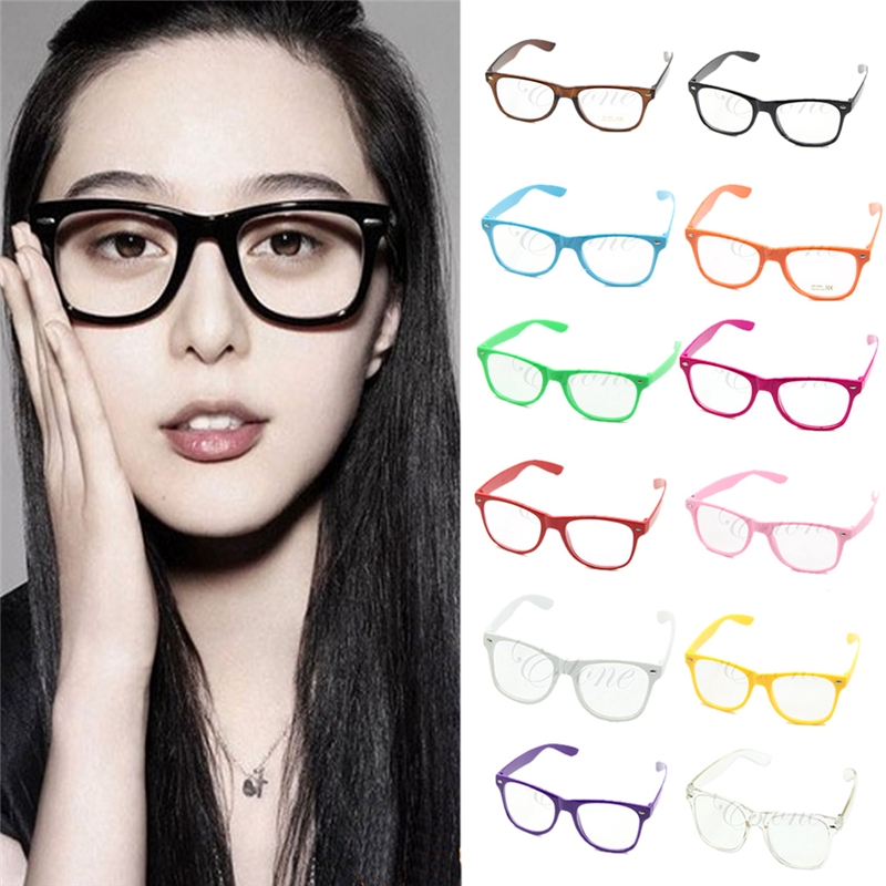 Trendy Cool Clear Lens Nerd Geeky Rimmed Glasses Eyewear