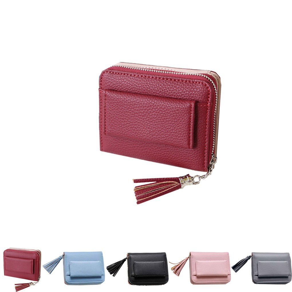 Female Handheld Squeeze, Squeeze the Small Zip Business Card, PU Leather Buckle RFID