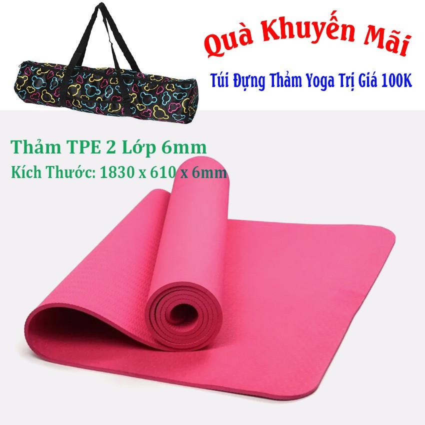 [Free Ship] Thảm Tập Yoga TPE 1 Lớp 6mm + Túi Đựng Thảm (Hồng)