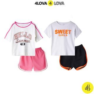 Bộ quần áo thun cộc tay cho bé gái 4LOVA phối chữ cá tính mùa hè chính hãng từ 8 – 40kg