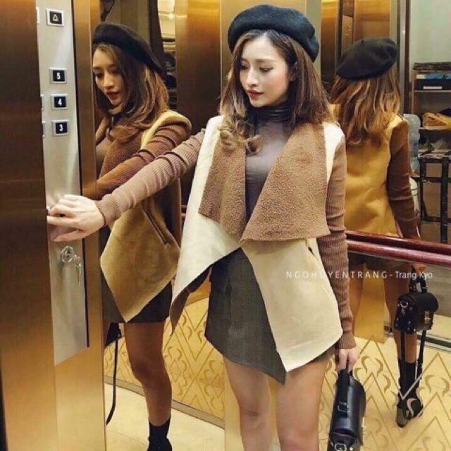 Áo da lộn lót lông tay len hàng Quảng Châu