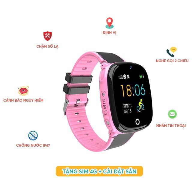 Đồng hồ thông minh trẻ em HW11 định vị kép GPS-LBS chính hãng Wonlex [Bản Tiếng Việt - màu hồng]