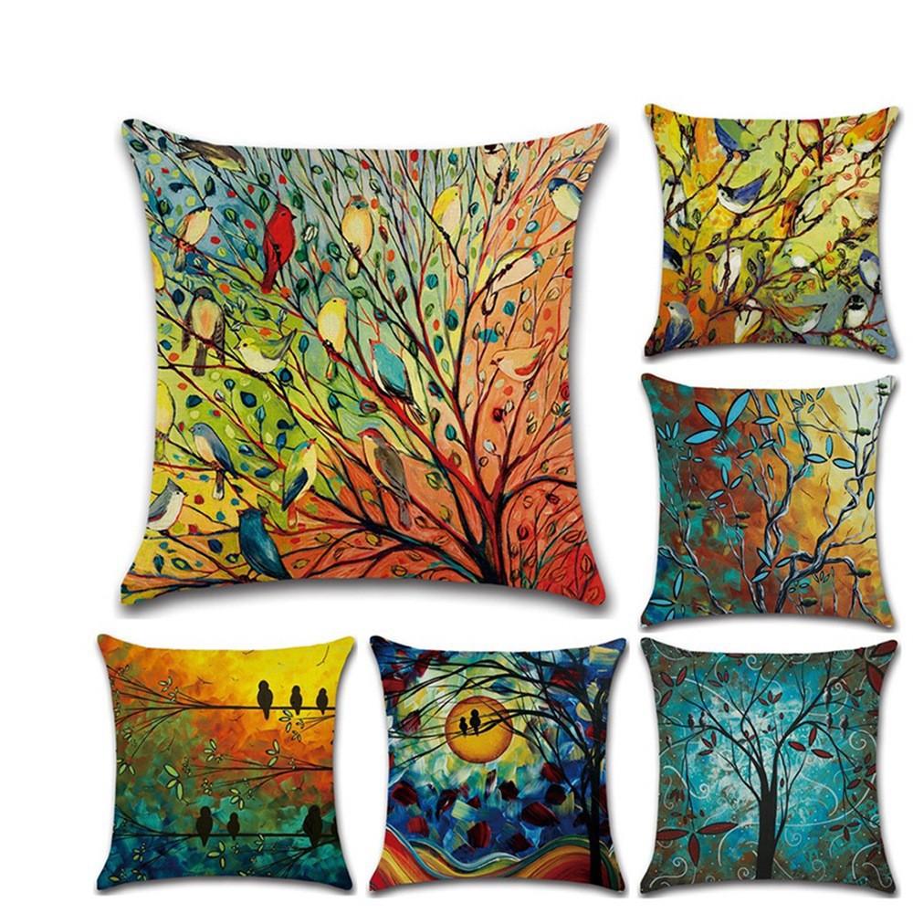 Vỏ gối vuông sofa, áo gối tựa lưng chất cotton size 45*45cm phong cách chim hội họa, tranh sơn dầu nghệ thuật