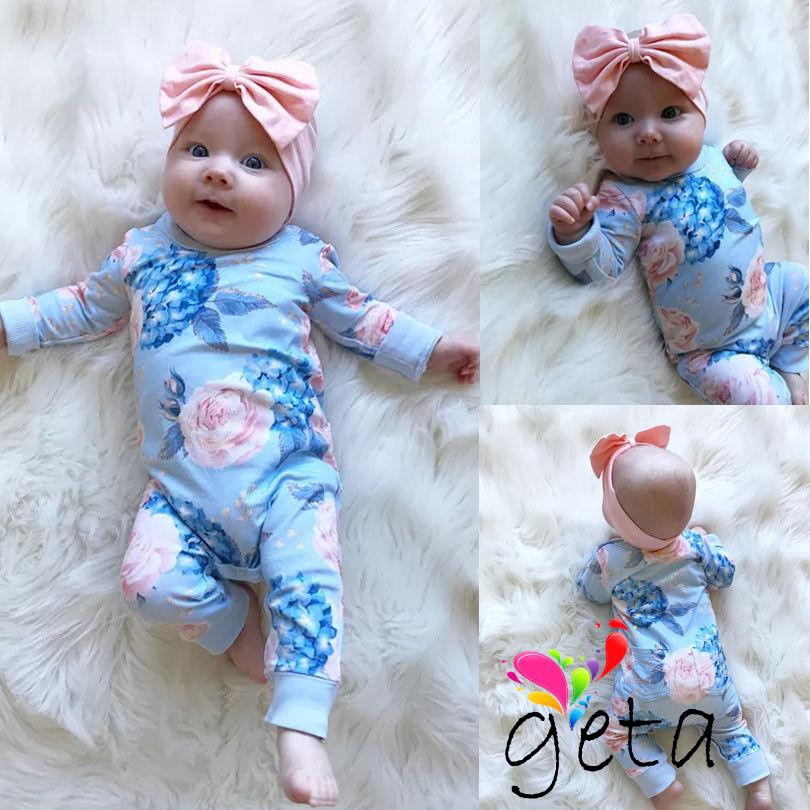 ✨WBB-Fashion Cute Infant Baby Girl Blue Floral Long Sleeve Jumpsuit+Headband Outfit