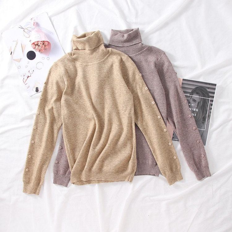 New fashion temperament high collar long sleeve pullover sweater fashion new cas