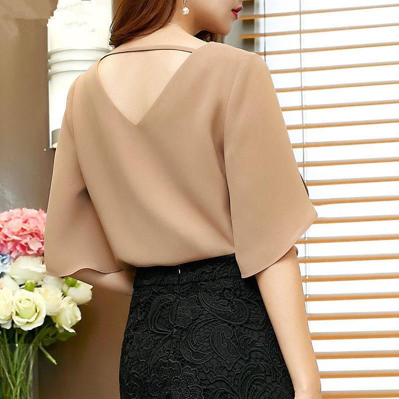 Mặc gì đẹp: Xinh xinh với Áo kiểu nữ cổ V tay xẻ cách điệu - nhiều size, form dáng chuẩn thích hợp mặc dự tiệc, đi làm