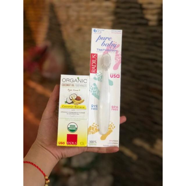 Kem đánh răng / bàn chải hữu cơ( nuốt dược ) 6m+