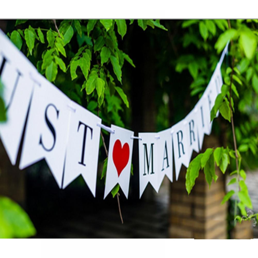 Fashion Props Photobooth Romantic Prop Wedding Garland Just Married Banner