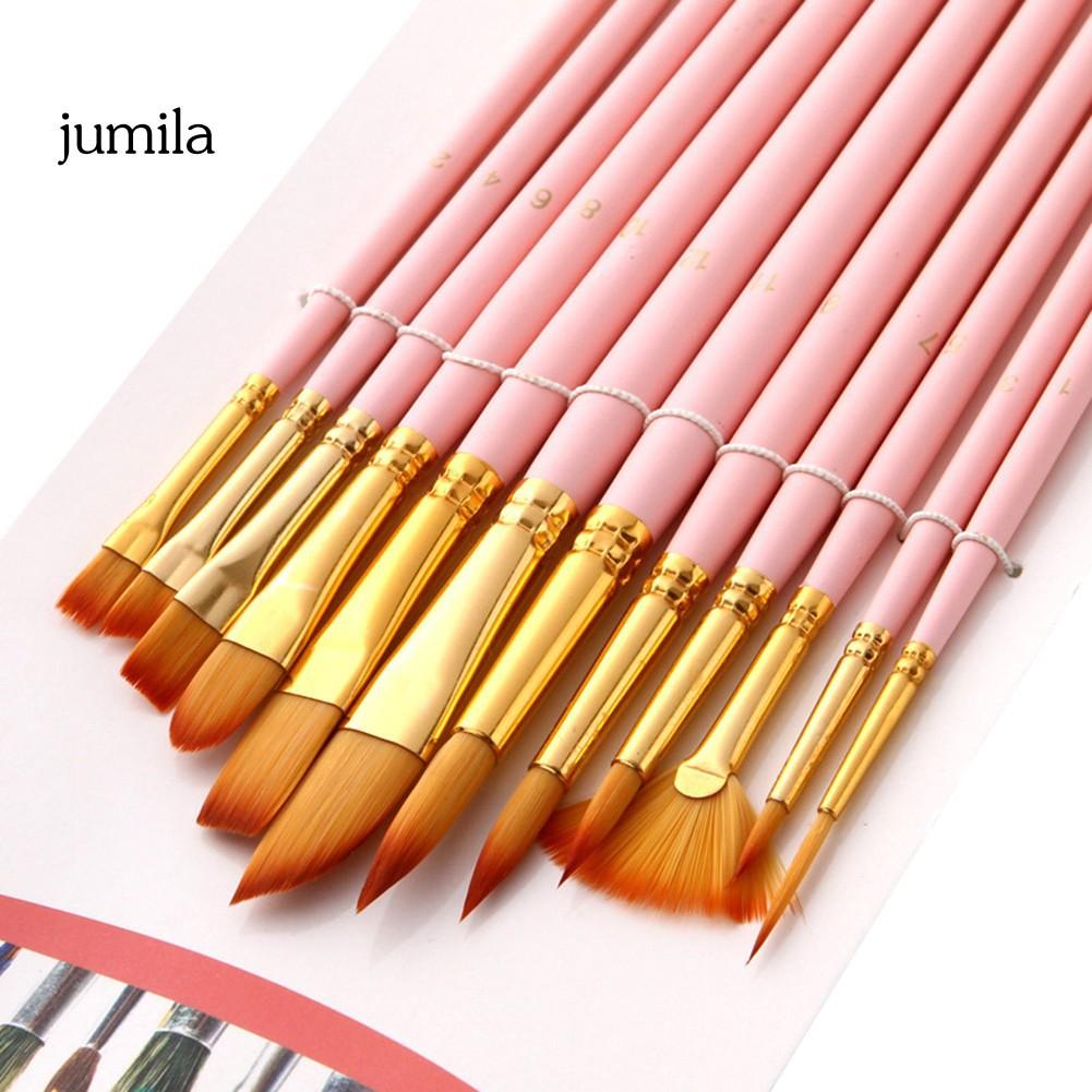 Bộ 12 cọ vẽ màu nước cán gỗ lông nylon chất lượng cao