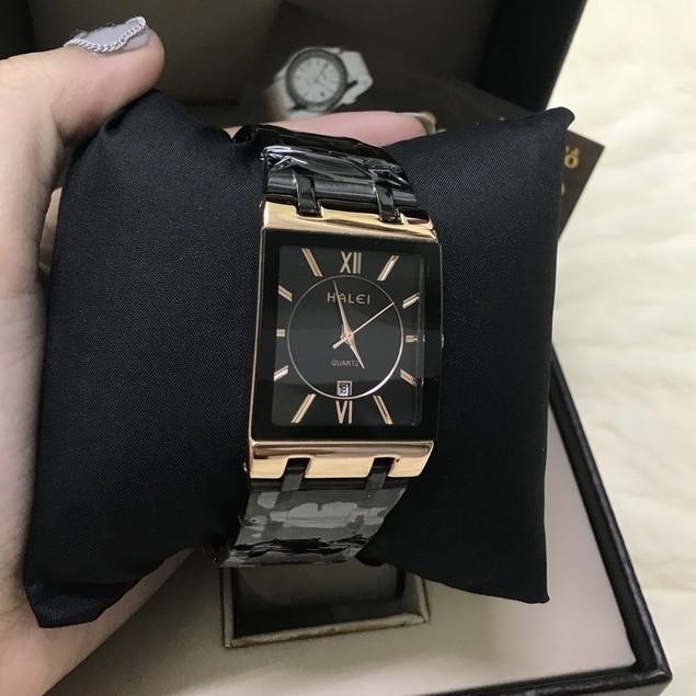 Đồng hồ nam Halei mặt vuông dây thép đúc đặc đen viền đồng chống nước chống xước chính hãng Tony Watch 68