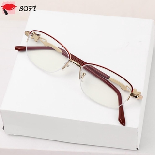 SOFTNESS Anti-fatigue Presbyopic Eyeglasses Women Fashion Metal Frame Eyewear Anti Blue Light Reading Glasses Anti-UV Transparent Luxury Radiation Protection Computer Goggles