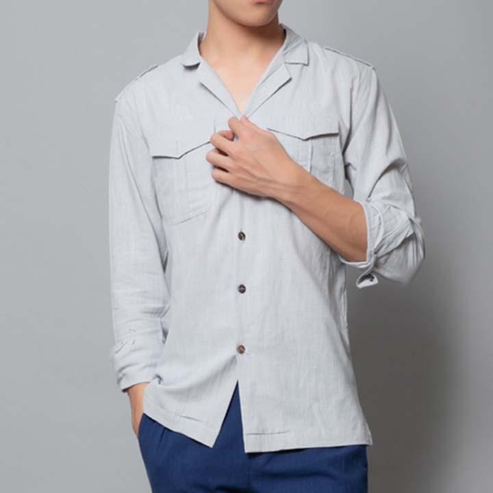 Áo đũi nam dài tay cổ vest thời trang