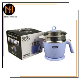 Ca nấu lẩu, nấu mì đa năng mini có tầng hấp ( giao màu ngẫu nhiên) Greencook GCEK-12D01, 600W, dung tích 1.2L