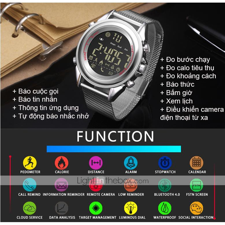 [Mã 267ELSALE hoàn 7% đơn 300K] Đồng hồ thể thao thông minh sang chảnh pin 12 tháng DK18