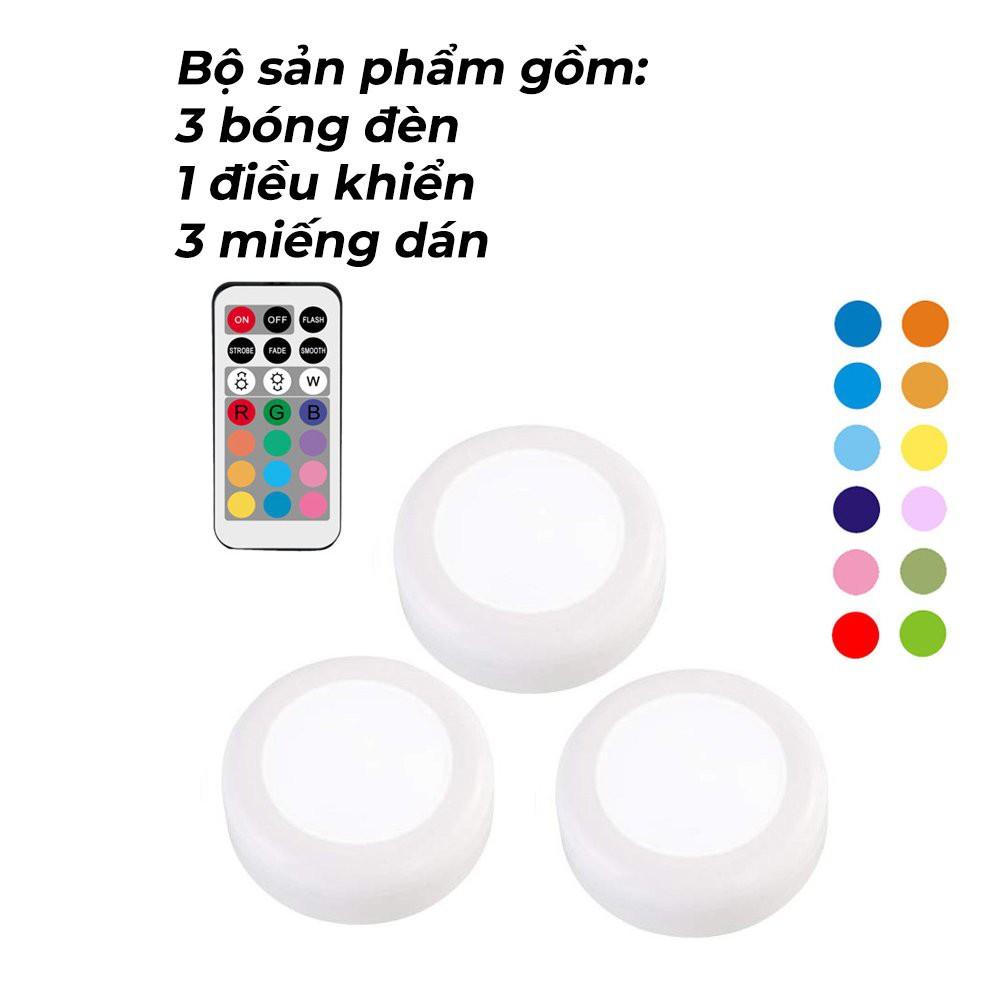 Bộ 3 đèn led nhấp nháy trang trí, điều khiển từ xa, đèn led 16 màu dán tường, gắn tủ, sử dụng trong phòng bếp, phòng ngủ