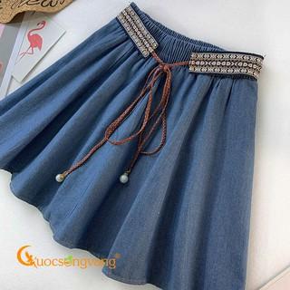 [Thanh Lý Xả Kho] Chân váy ngắn denim xanh đậm chân váy jean lưng thun GLV146 .. Đẹp