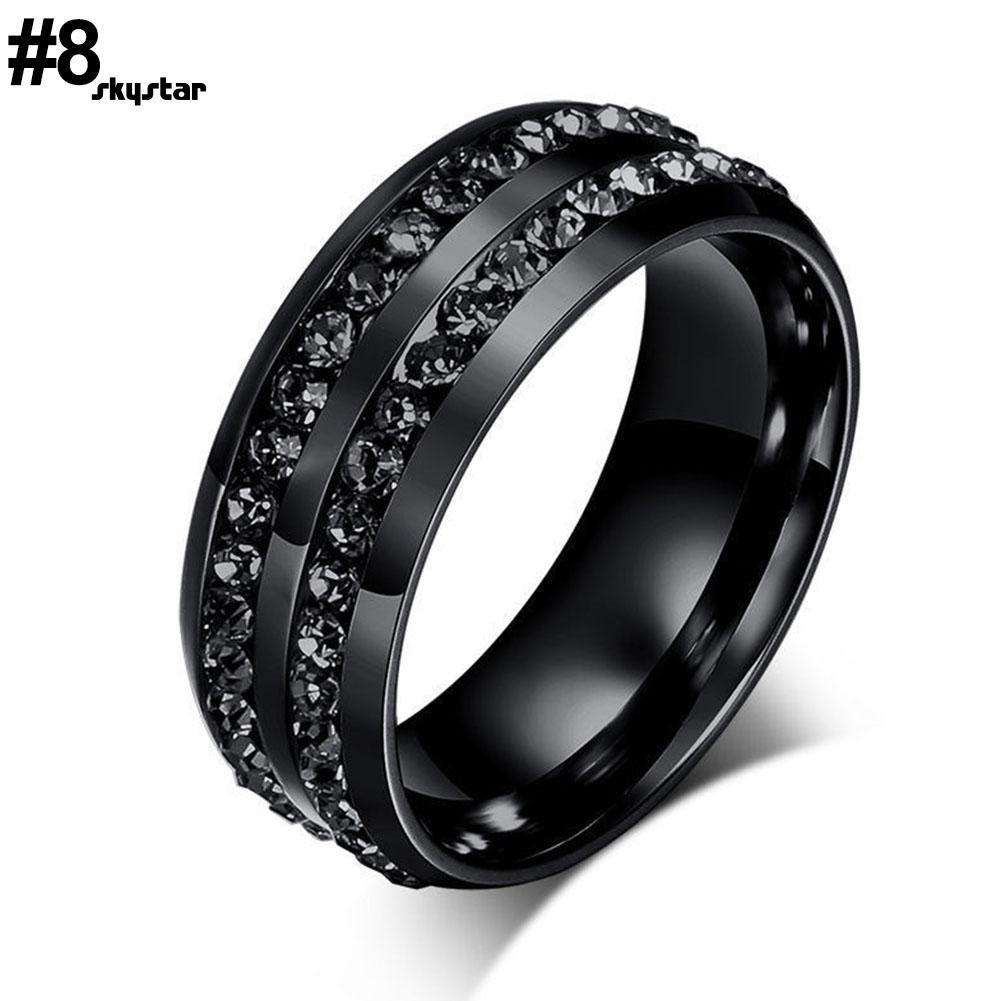 Nhẫn inox màu đen đính đá Rhinestone thời trang unisex