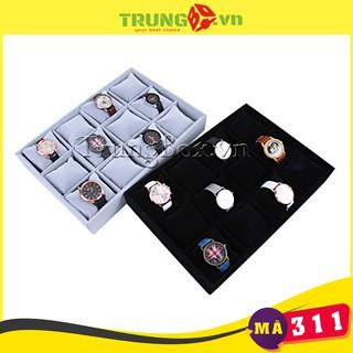 Khay Đựng Đồng Hồ 12 Ngăn Bọc Nhung - Mã 311 thumbnail