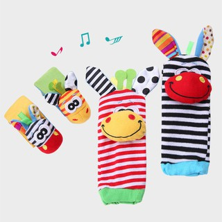 Baby Cute Wrist Rattles Hands Foots Baby Infant Soft Toy Developmental Puzzle